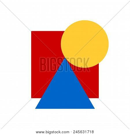 Decorative Ornament Of Geometric Shapes. Vector Creative Geometric Composition Of 3 Primary Colors A