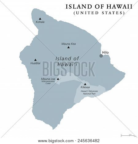 Island Of Hawaii, Gray Colored Political Map. Largest Island In The U.s. State Of Hawaii In The Nort