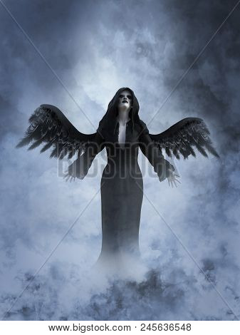 3D Rendering Of A Death Angel In Heaven.