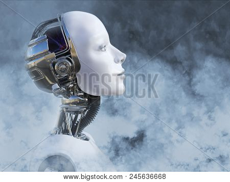 Dreamy Head Portrait Of A Female Robot Surrounded By Smoke, 3d Rendering