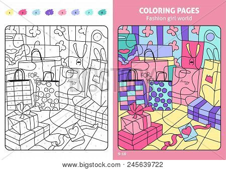 Fashion Girl World Coloring Pages For Kids, Shopping Bags. Coloring Puzzle With Numbers Of Color. Bl