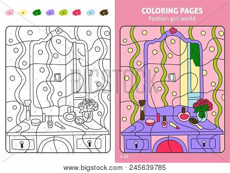 Fashion Girl World Coloring Page For Kids, Makeup. Printable Design Coloring Book. Coloring Puzzle W