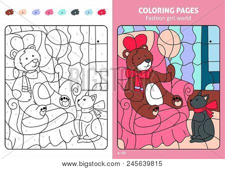 Fashion Girl World Coloring Pages For Kids, Teddy. Printable Design Coloring Book. Coloring Puzzle W