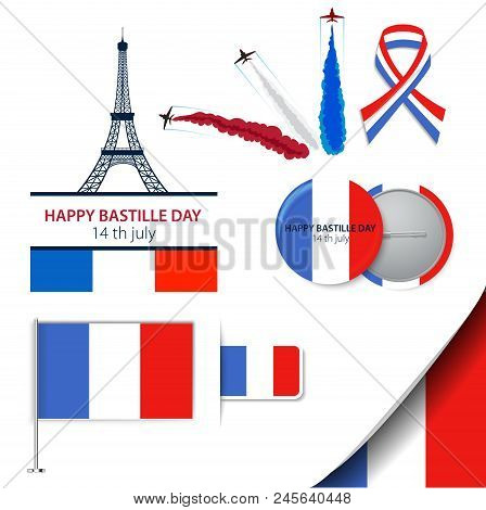 Greeting Card Design For The Bastille Day Fourteen Of July Or Another French Holiday. Stylish Vector