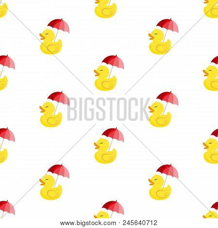 Rubber Ducky With Umbrella. Vector Illustration On A White Background. Seamless Pattern. Can Be Used