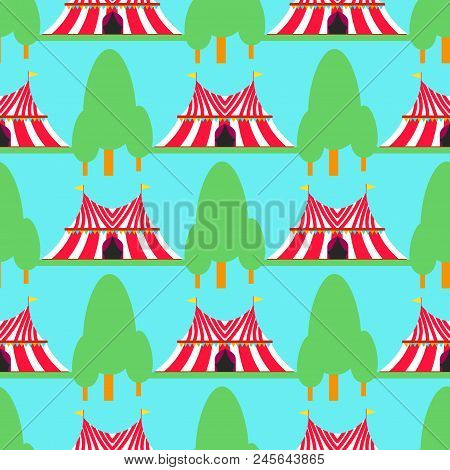 Circus Tent Marquee With Stripes And Flags Carnival Entertainment Amusement Seamless Pattern Backgro
