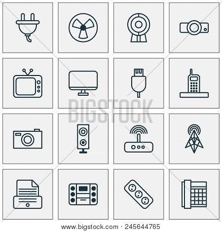 Gadget Icons Set With Socket, Music Player, Antenna And Other Speaker Elements. Isolated  Illustrati