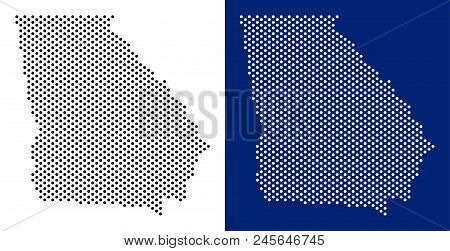 Dotted American State Georgia Map. Vector Geographic Map On White And Blue Backgrounds. Vector Colla