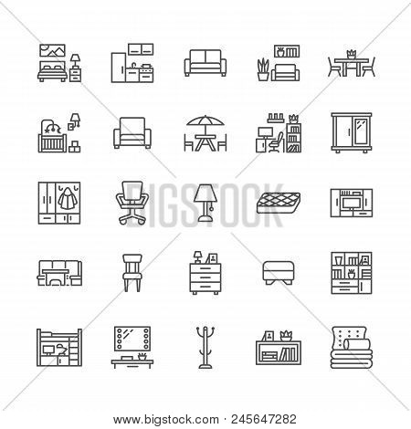 Furniture Vector Flat Line Icons. Living Room Tv Stand, Bedroom, Home Office, Kitchen Corner Bench,
