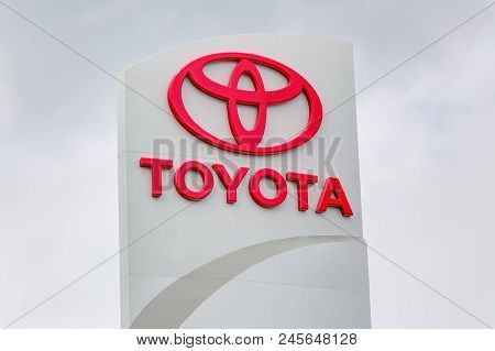 Toyota Automobile Dealership Exterior And Trademark Logo