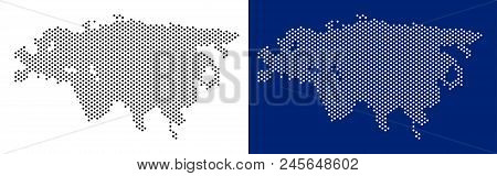 Pixel Eurasia Map. Vector Geographic Map On White And Blue Backgrounds. Vector Mosaic Of Eurasia Map