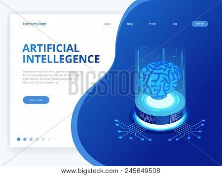 Isometric Artificial Intelligence Business Concept. Technology And Engineering Concept, Data Connect