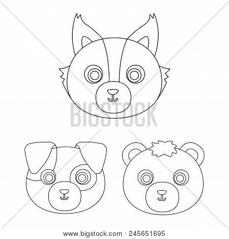Muzzles Of Animals Outline Icons In Set Collection For Design. Wild And Domestic Animals Vector Symb