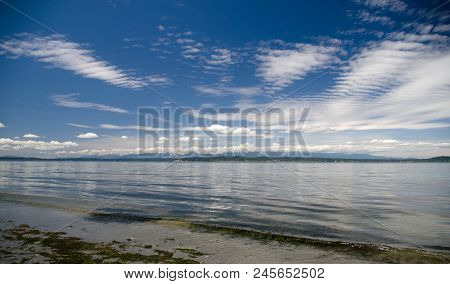Cirrocumulus Clouds Over Puget Sound During Low Tide Near Shoreline, Seattle