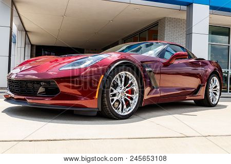 Monticello - Circa June 2018: Chevrolet Corvette Z06 At A Chevy Dealership. Chevy Is A Division Of G