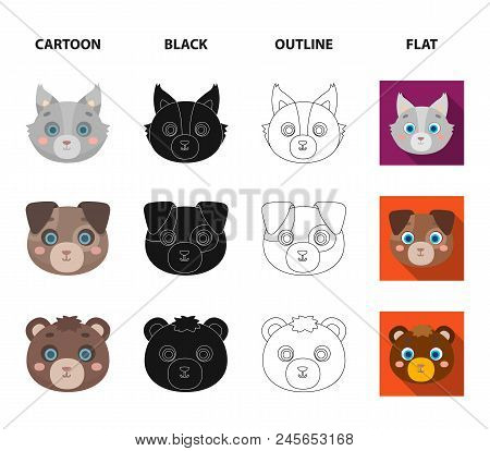 Owl, Cow, Wolf, Dog. Animal's Muzzle Set Collection Icons In Cartoon,black,outline,flat Style Vector