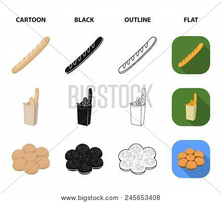 Rye Round Bread, A Croissant, A French Loaf, A Bag Of Bread.bread Set Collection Icons In Cartoon, B
