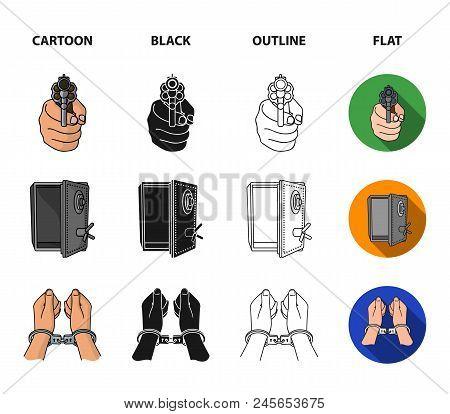 Photo Of Criminal, Scrap, Open Safe, Directional Gun.crime Set Collection Icons In Cartoon, Black, O