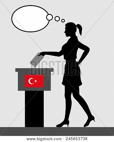 Turkish voter young woman voting for election in Turkey with thought bubble. All the silhouette objects and backgrounds are in different layers. poster