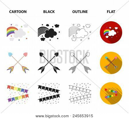 Flag, Unicorn Symbol, Arrows With Heart.gay Set Collection Icons In Cartoon, Black, Outline, Flat St