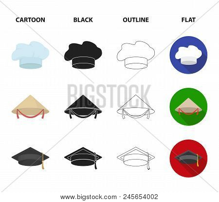 Crown, Jester's Cap, Cook, Cone. Hats Set Collection Icons In Cartoon,black,outline,flat Style Vecto
