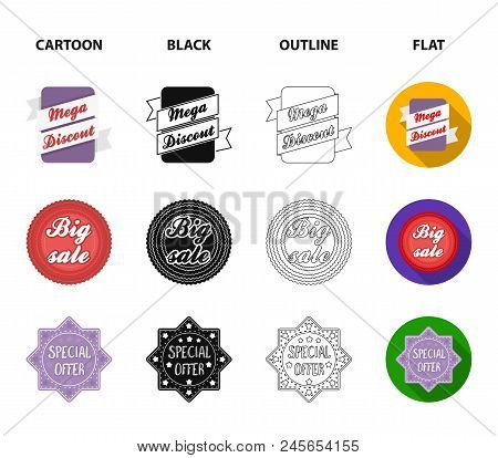 Limited Edition, Vintage, Mega Discont, Dig Sale.label, Set Collection Icons In Cartoon, Black, Outl