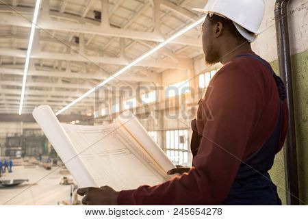 Rear View Of Pensive Purposeful Young African-american Construction Manager In Hardhat Holding Bluep