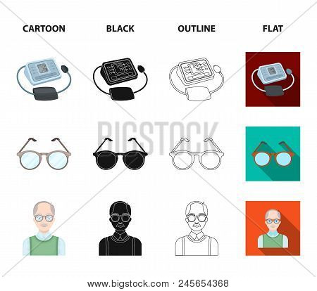 Lottery, Hearing Aid, Tonometer, Glasses.old Age Set Collection Icons In Cartoon, Black, Outline, Fl