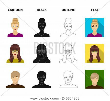 The face of a girl with glasses, a woman with a hairdo. Face and appearance set collection icons in cartoon, black, outline, flat style vector symbol stock illustration . poster
