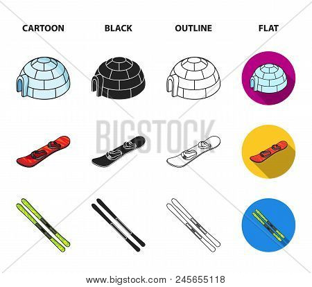 Mountains, Goggles, An Igloo, A Snowboard. Ski Resort Set Collection Icons In Cartoon, Black, Outlin