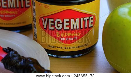 Adelaide, South Adelaide - June 6, 2018: Australian Vegemite Spread In Iconic Red And Yellow Jar Ser