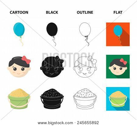 Children's Toy Cartoon,black,outline,flat Icons In Set Collection For Design. Game And Bauble Vector