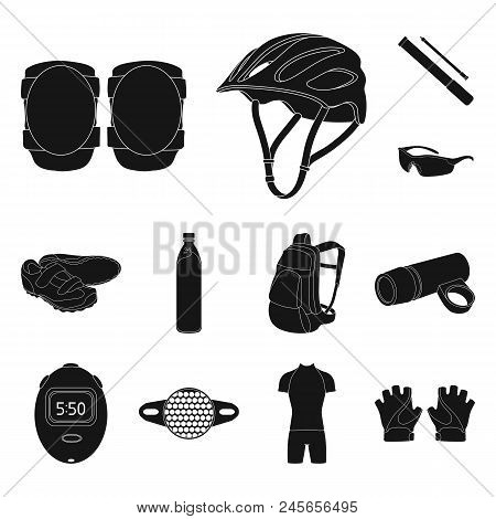 Bicycle Outfit Black Icons In Set Collection For Design. Bicycle And Tool Vector Symbol Stock  Illus