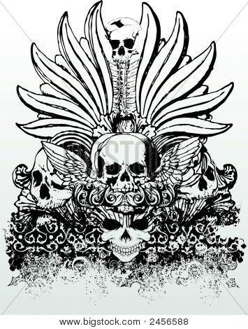 Vector Tribal Skulls Grunge Illustration
