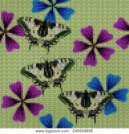 Illustration. Cross-stitch. Lavatera, Mallow, Malva, Butterfly. Texture Of Flowers. Seamless Pattern