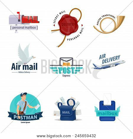 Post service icon set for mail delivery themes design. Mailbox, letter envelope and postman, postbox, postal horn and mailman bag with correspondence, postal wax seal, airmail plane and pigeon symbol poster
