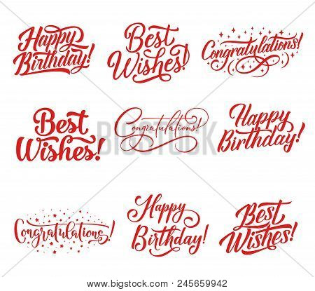 Congratulations Hand Lettering For Greeting Card And Invitation Template. Happy Birthday And Best Wi
