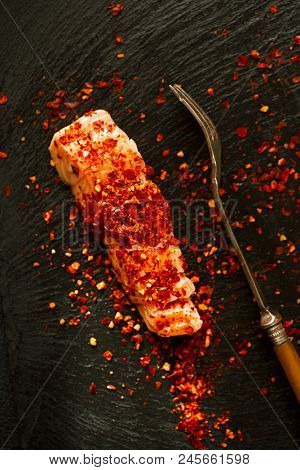 harissa spice mix - morrocan red hot chilles with hot smoked salmon slices
