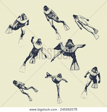 Silhouettes Of Diver. Set Of Diver Icons. The Concept Of Sport Diving. Vintage Engraved Illustration