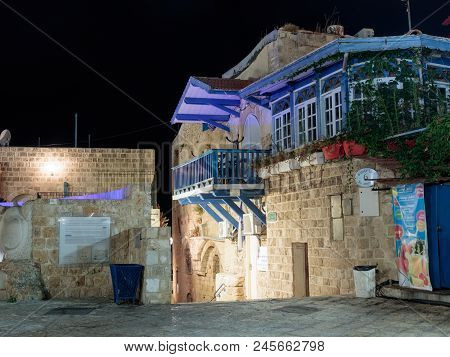 Tel Aviv -yafo, Israel, July 08, 2016: Quiet Streets Of The Old Town Of Yafo At Night. Lane Sign Of