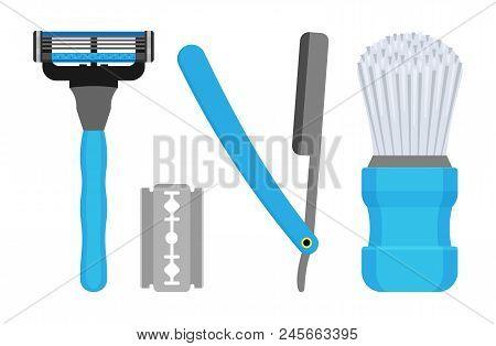 Set For Shaving. Vector Illustration Of Male Razors And A Bristle Brush.