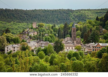 Beautiful Landscape Of Old Town In Natural Reserve Park, Cevennes, France