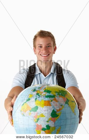 Young traveller with globe