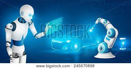 Humanoid Robot Producing Vehicle, Controlling Robotic Welding Arm On Car Factory Realistic Illustrat