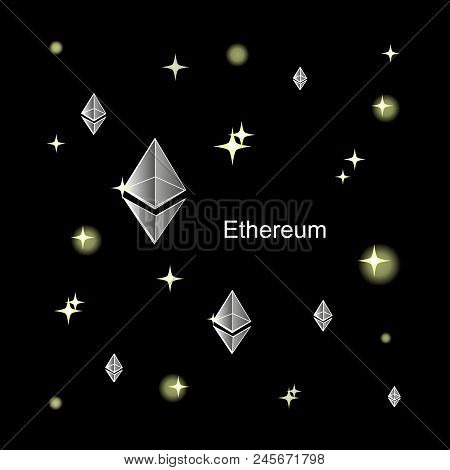 Silver Ethereum. The Virtual World Of Crypto-currency. A Digital Currency Sign On A Dark Cosmic Back