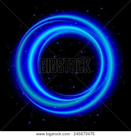Blue Light Shining Circle Banner, Stock Vector