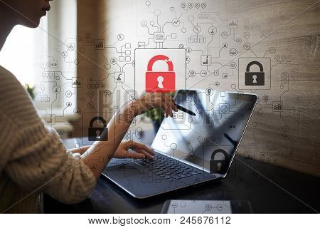 Cyber Attack Detection. Internet Security, Information And Data Safety Concept. Gdpr. Privacy