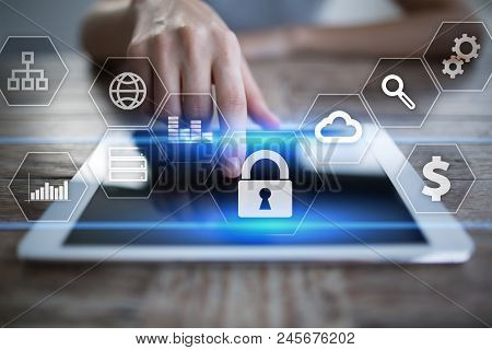 Data Protection, Cyber Security, Information Safety And Encryption. Internet Technology And Business