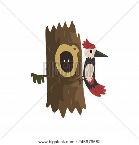 Woodpecker On A Hollow Tree Hollowed Out Old And Cute Animal Cartoon Character Inside