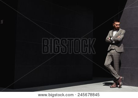 Businessman In City. Modern Businessman. Confident Young Man In Full Suit Standing Outdoors